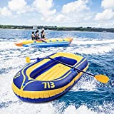 Inflatable Canoe Kayak   Kptoaz 2 Person Inflatable Boat Canoe with Foot Pump and Paddle Raft Inflatable Kayak Portable Fishing Boat Double Rafting Boat for Adults and Kids