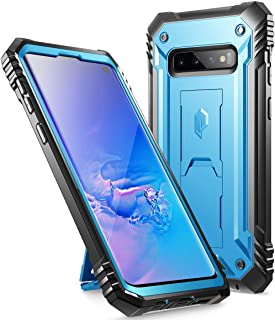Galaxy S10 Rugged Case with Kickstand, Poetic Heavy Duty Military Grade Full Body Cover, Without Built-in-Screen Protector, Revolution Series, for Samsung Galaxy S10 6.1 Inch (2019), Blue