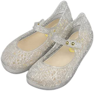 Girls Princess Jelly Sandals Mary Jane Bird Nest Layered Lines Flat