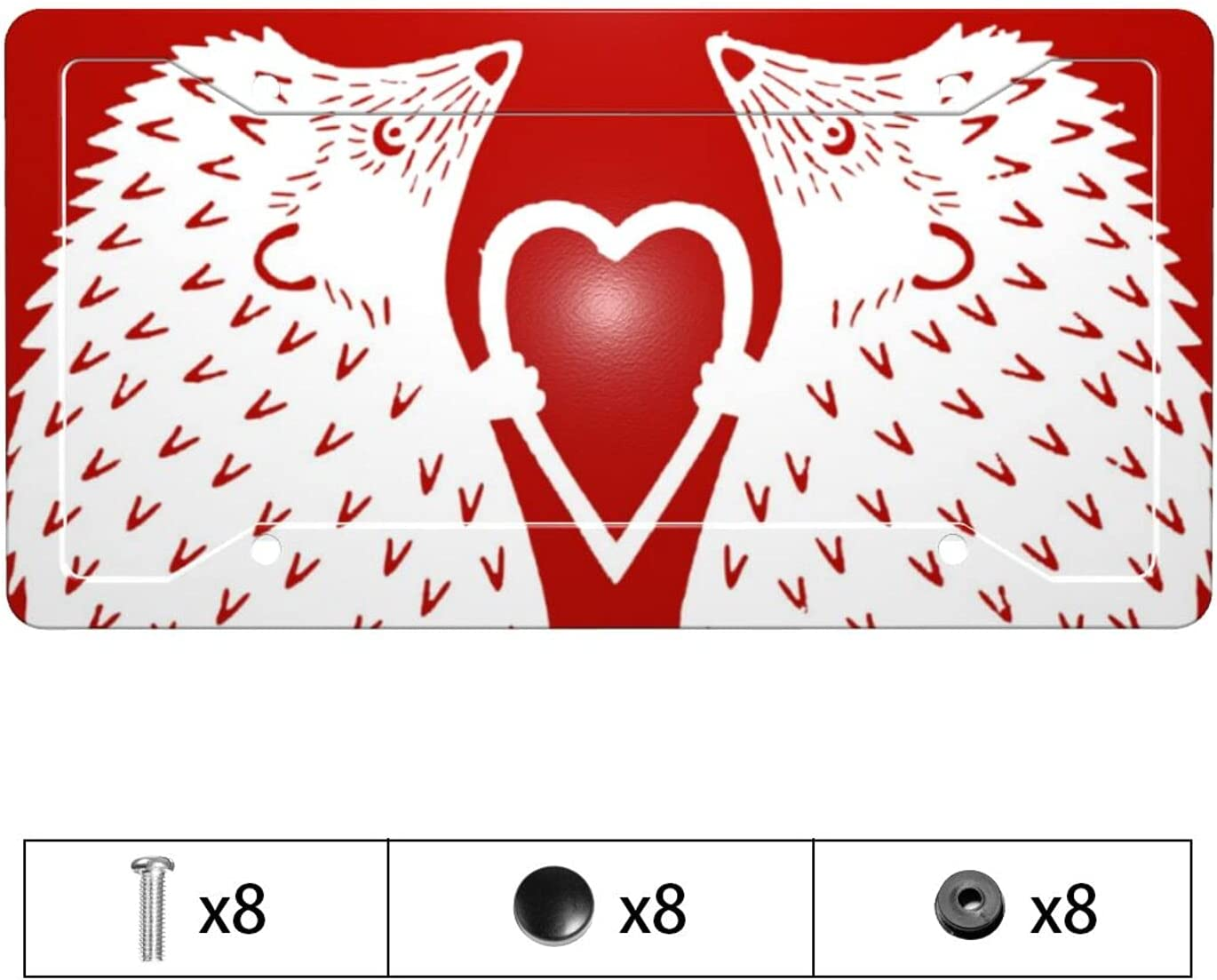 Feim-AO Car Front License Plate Frame free shipping Online limited product Hedgehogs Mental Heart