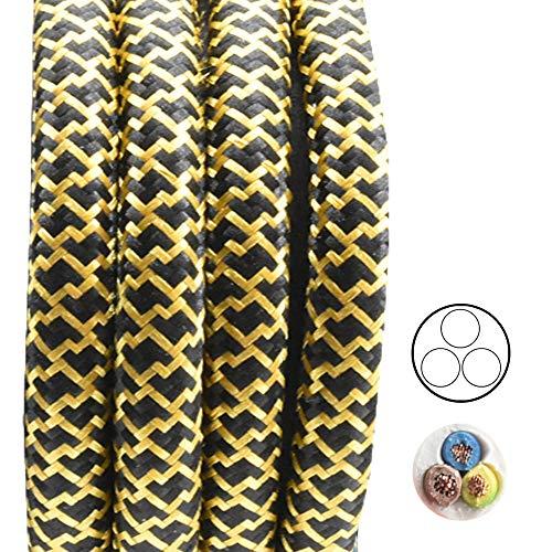 3m Textilkabel Schwarz Gold Barock zickzack 3-adrig 0,75mm² Stoffkabel für Pendel- und Hängeleuchten Stromkabel mit Stoff