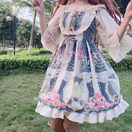 LJYNB VeranomujerLolita Slip Dress Ruffled Lolita sling falbala vestido Angel Maid vestido con blusa talla nica vestido azul
