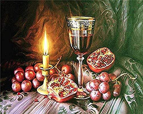 AOOEDM Puzzle de Paisaje de Madera de 1000 Piezas, Rompecabezas, para decoración del hogar, Juguete Educativo artístico, Granada y Copa de Vino en la Mesa