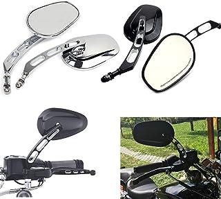Motorrad Universal 8mm Rückspiegel Für Harley Dyna Road King Softail Touring XL 883 Sportster Fatboy FXDB FLSTF (Schwarz)
