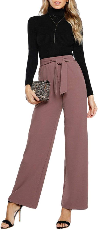 colorfulspace Self Tie Waist Palazzo Pants Pink Elegant High Waist Pants Autumn Trousers Women Elastic Waist Casual Pants