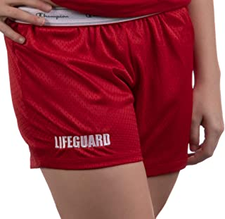 Lifeguard Mesh Gym Shorts | Red Professional Women's Lifeguarding Swim Bottoms