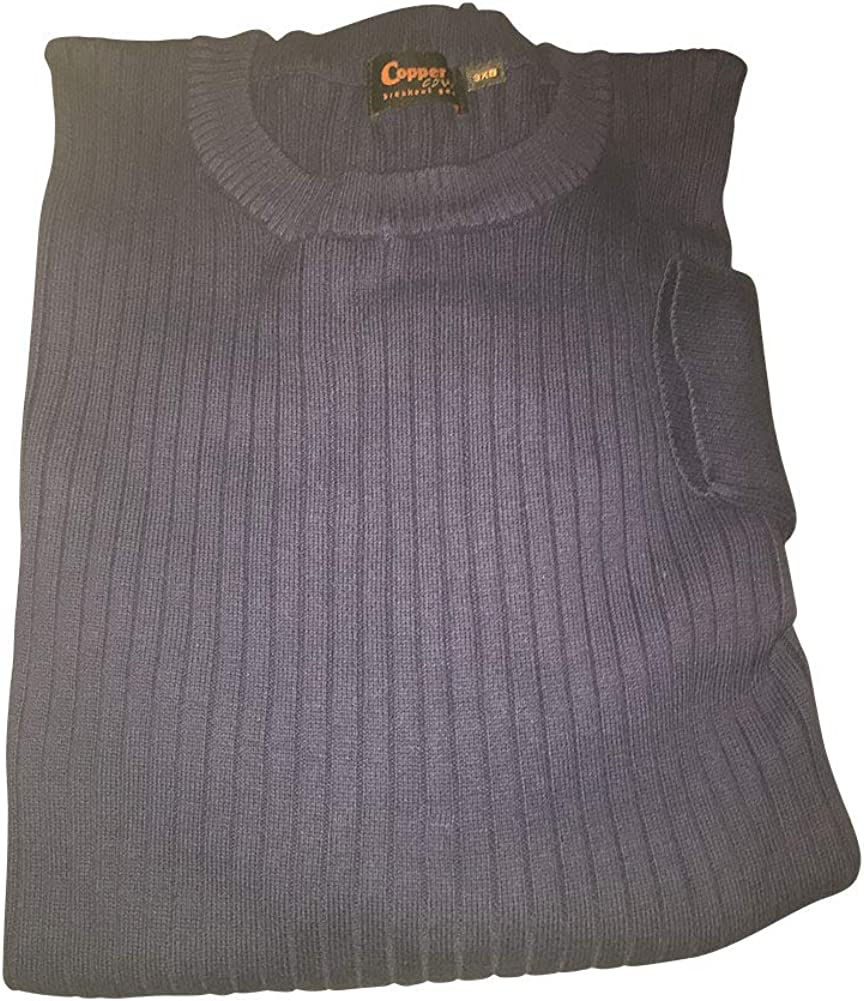Big and Tall Luxury Ribbed Cotton Crewneck Sweater to 8X Big in Black, Navy, Tan, and Red