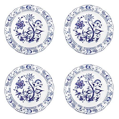 Triptis 1350380670024116 Romantika Zwiebelmuster Speiseteller, Ø 23,5 cm, Porzellan, weiß/blau (4 Stück)