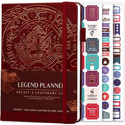Legend Planner – Deluxe Weekly & Monthly Life Planner to Hit Your Goals & Live Happier. Organizer Notebook & Productivity Journal. A5 Hardcover, Undated – Start Any Time + Stickers – Wine Red Gold