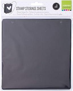 Vaessen Creative 8 Feuilles de Rangement Noires Organiser et Stocker Les Tampons et Autres Fournitures Créatifs, 20cm x 20cm
