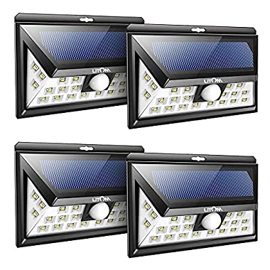 LITOM 24 LED Solar Lights Outdoor, 3 Optional Modes Wireless Motion Sensor Light with 270° Wide Angle, IP65 Waterproof, Easy-to-install Security Lights for Front Door, Yard, Garage, Deck, Porch-4 Pack