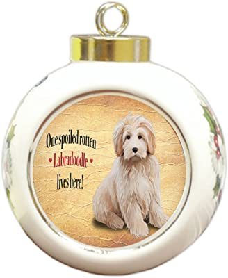 Labradoodle Spoiled Rotten Dog Round Ceramic Christmas Ornament