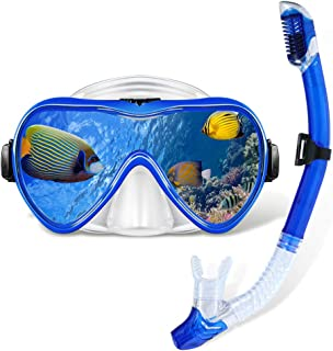 Gugusure Snorkel Set, Dry Snorkeling Gear with Anti Fog and Anti Leak Tempered Glass, Panoramic Wide View and Easy Breathi...