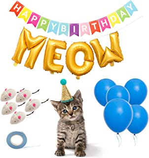 BINGPET 14 PCS Cat Birthday Party Supplies with Cat Birthday Hat, Cat Chew Toys, Letter Balloons, Blue Latex Balloons, Happy Birthday Banner and Blue Ribbon for Kitty Kitten Theme Party Decoration