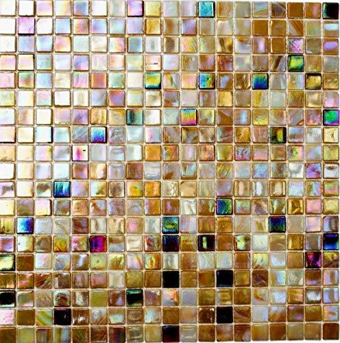 Mosaikfliese Glas sandfarbend Wandfliesen Badfliese Duschrückwand Fliesenspiegel MOS58-1204_f | 10 Mosaikmatten