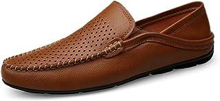 [Hardy] 男性ドライブローファー用カジュアルでさわやかな通気性の本革の柔らかい底臭いを防止するフットペダル怠惰な人ドレスシューズ (Color : Hollow Brown, サイズ : 27.5 CM)