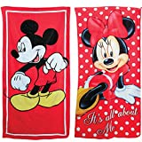 Disney Mickey Mouse & Minnie Mouse Beach Towels Printed Velour -...