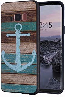 Galaxy S8 Plus Case,BWOOLL Slim Anti-Scratch Shockproof Leather Grain TPU Rubber Protective Cose Cover for Samsung Galaxy S8 Plus (2017) 6.2 inch - Vintage Nautical Anchor Rustic Wood