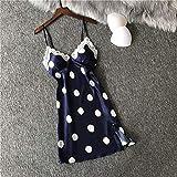 CIDCIJN Camisón De Pijama De Mujer - Faux Silk Night Dress Mujeres Correa Camisón Nuevo Sexy Sleepwear Soft Print Sleepdress Deep V Encaje Lencería,Negro,L