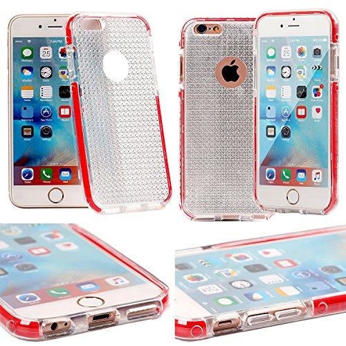Gorilla Tech trasparente sottile per iPhone 6s Custodia Morbida Silicone Gel TPU + PC antiurto antigraffio Bumper Cover, Gel, Clear + Red Edges, D3O iPhone 5S/5