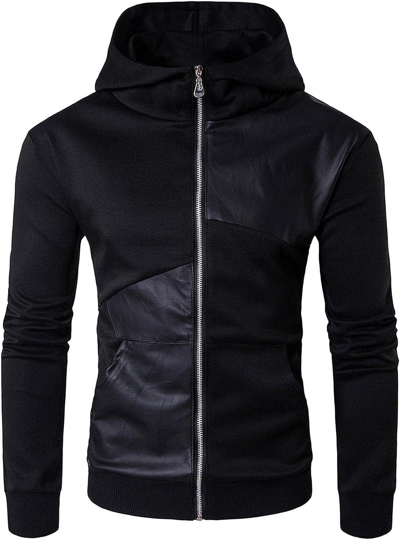 Huangse Men's Heavyweight Fleece Hooded Sweatshirt Full Zip Hoodie with Pocket Patchwork Mixed Leather Jacket