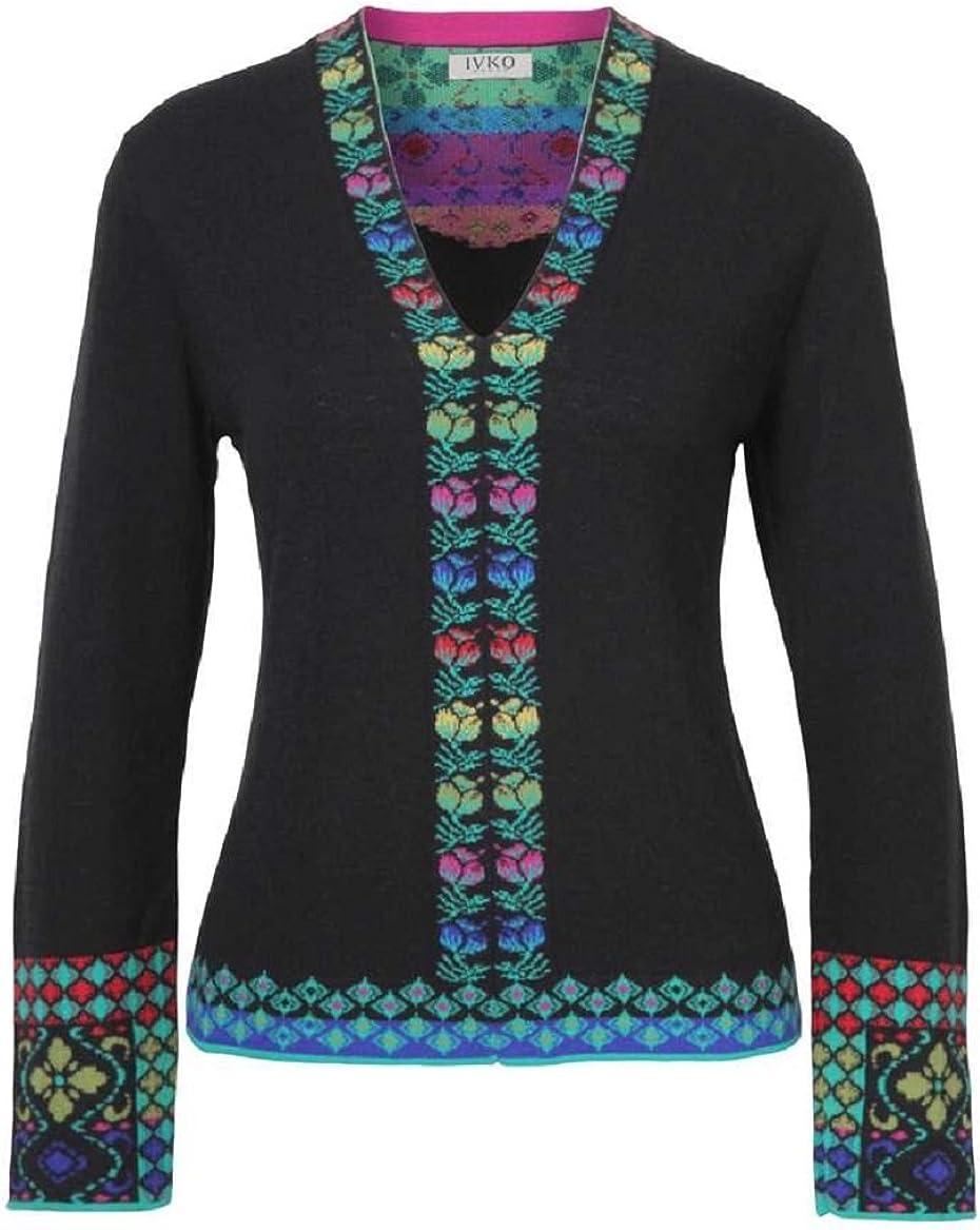 IVKO V-Neck Intarsia Pattern Pullover, Black