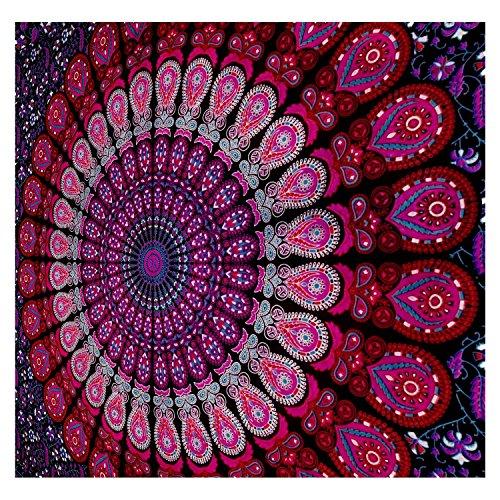 MyCrafts Tapiz Indio Mandala, Hippie Indio para Colgar en la Pared, Bohemio Reina para Colgar en la Pared, Colcha de Playa (85 x 55 Pulgadas, Morado)