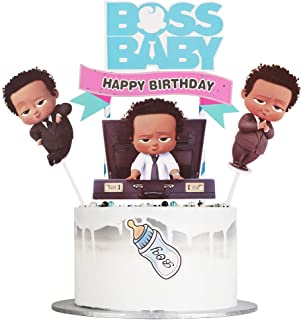 Auteby Boss Baby Happy Birthday Cake Topper for Baby Shower Baby Theme Party Decoration Supplies (baby boy)