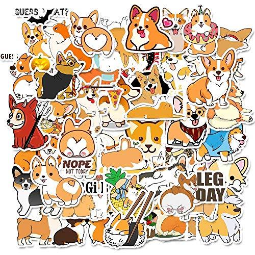 10/30/50PCS Cute Cartoon Corgi Personality Dog Doodle Water Cup Phone Case Car Helmet Notebook Sticker Wholesale