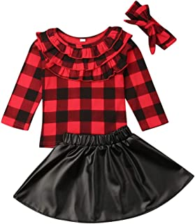Toddler Baby Girl Christmas Outfits Ruffle Shirt Tops+Plaid Supender Dress Skirt Clothes Set