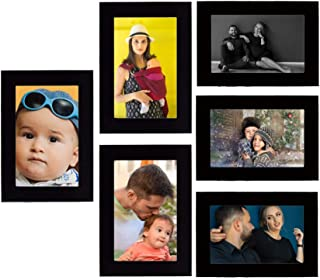 Tonkwalas Collage Individual Photo Frames, Set of 6,Wall Hanging (3 pcs - 4x6 inch, 3 pcs - 6x4 inch) (Half Inch Stick, Pl...