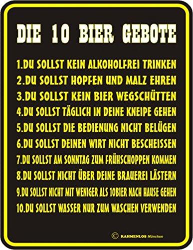 Original Rahmenlos ® Blechschild geprägt: Die 10 Bier Gebote 17x22 cm, rostfreies Aluminium, 4 Löcher in den Ecken, entgratet, 4 Haftnoppen gratis anbei