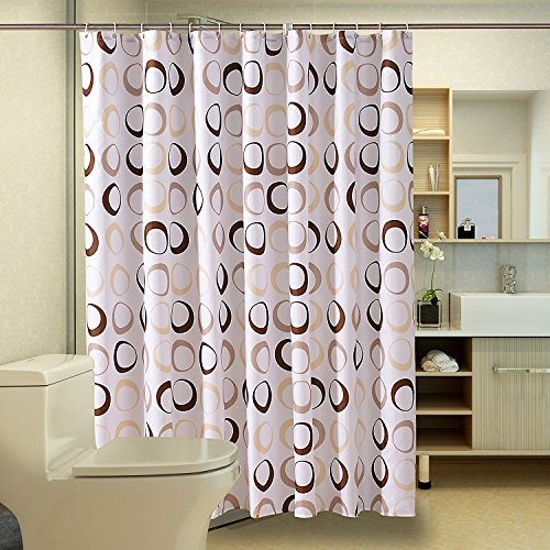 Duschvorhang Anti-Schimmel und Wasserdicht Kreise Badezimmer Duschvorhang mit verstärktem Saum, mit Haken 120/150/180/200 x 200cm