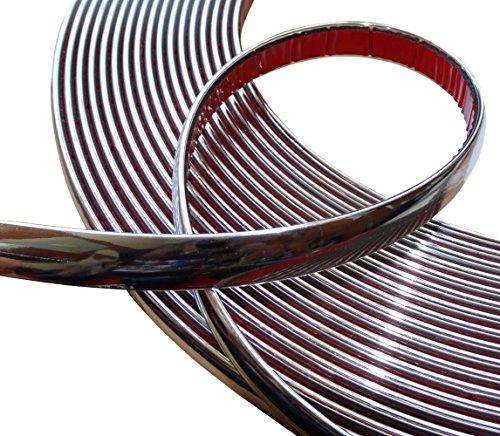 Aerzetix - 15 mm 4.5 metri fasce banda bacchetta adesiva del nastro di colore d'argento nichel cromo .
