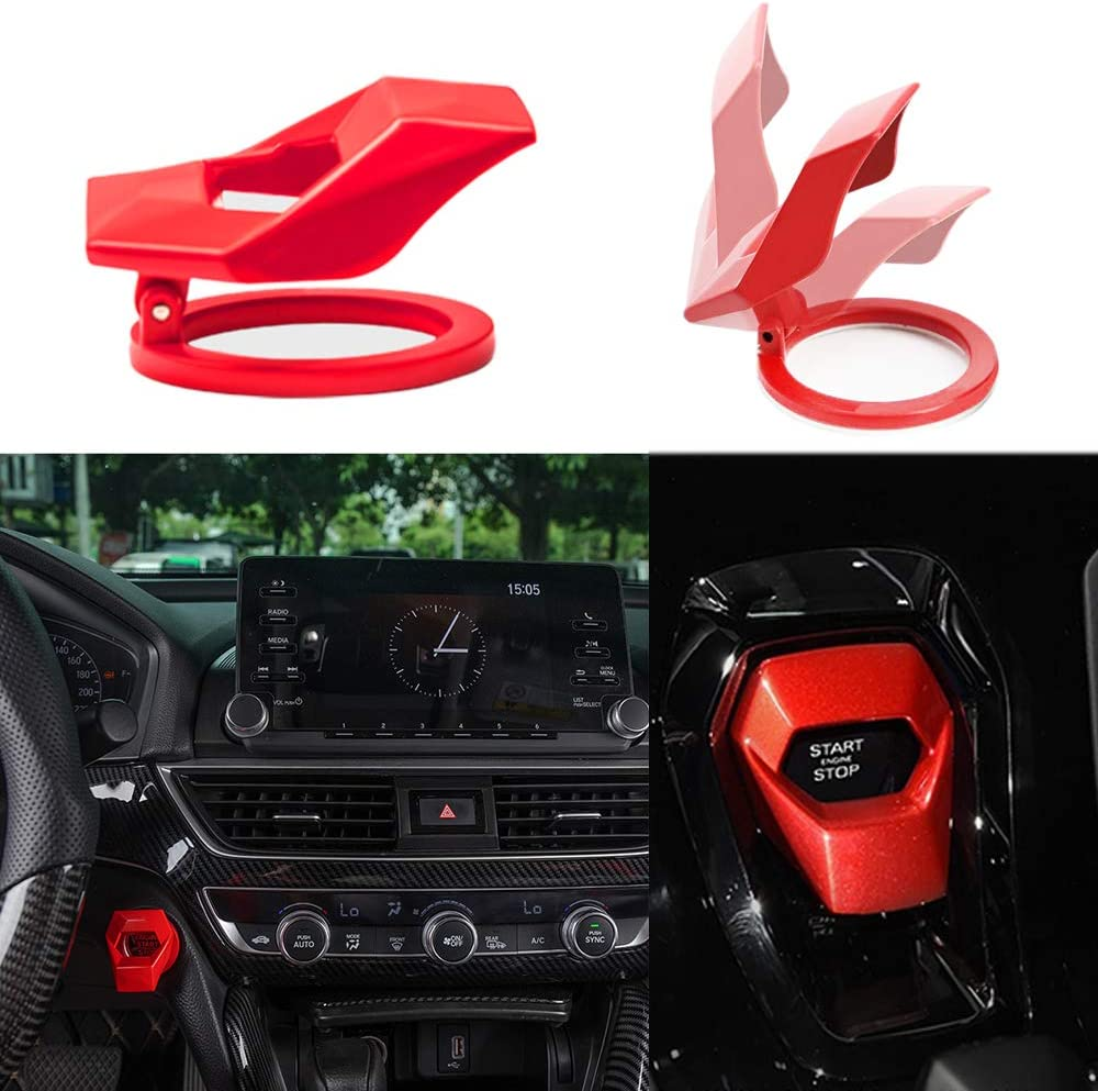 Black 3D Car Engine Push Button Protection Cover,Engine Start//Stop Button Alloy Cover Protective Switch Cover Decorative Trim Sticker For Universal Honda Civic Dodge Challenger Charger