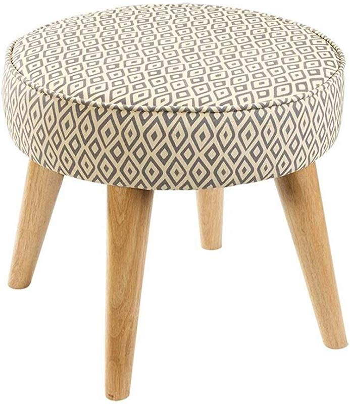 Carl Artbay Wooden Footstool Khaki Square Pattern Change The Shoe Stool Cloth Solid Wood Feet Short Stool Simple Modern Round Stool Home