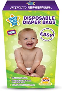 Mighty Clean Baby Disposable Diaper Bags with Light Powder Scent, 200 Count