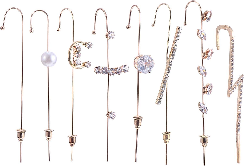 KESYOO 8Pcs Ear Wrap Crawler Hook Earrings Rhinestone Ear Cuff Earrings Piercing Ear Wrap Hook Gift For Women Girls Golden