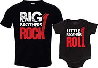 Sibling Shirt Set for Boys, Big Brothers Rock, Includes Small (6-8) and 6-12 mo
