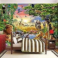 3D写真壁画不織布壁紙漫画草地動物ライオンゼブラ子供部屋寝室家の装飾壁画-250x175cm