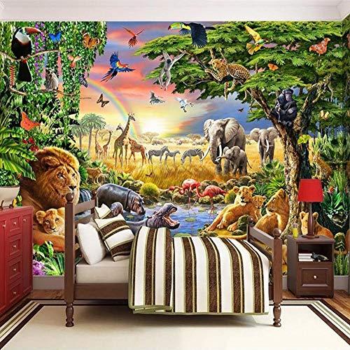 XLXBH 3D behang zelfklevend wandschilderij (B) 200 ×(H) 140 cm fotobehang 3D cartoon graand dier leeuw zebra kinderkamer slaapkamer decoratie wandschilderij, kinderkamer kantoor eetkamer woonkamer decoratie
