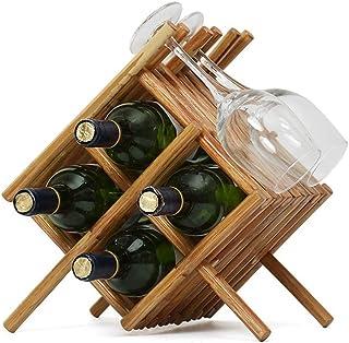 Logo TLF-FF Botella de Madera encimera Gabinete de Mesa Vino de Almacenamiento Ranuras for 4 Botellas de Vino Capaz Botell...