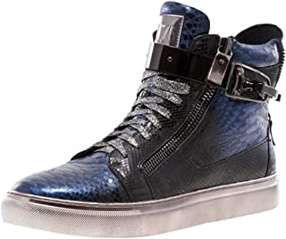 J75 Men's Zeus Round Toe Leather Lace-Up High-Top Sneaker