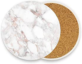 GTdgstdsc Rose Gold Marble Blush Pink Metallic Foil Coaster for Drinks Absorbent Stone Coaster, Cups Holder Coffee Mug Cup Mat Pack Of 1