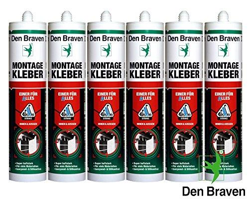 Braven Profi Set 6 x 445g Kartusche Montagekleber - EINER FÜR ALLES - GRAU - Kleb- und Dichtstoff, Hybrid, super hafstark, isocyanat- und silikonfrei
