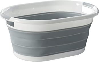 Homz Oval, White and Grey Collapsible Plastic Laundry Basket