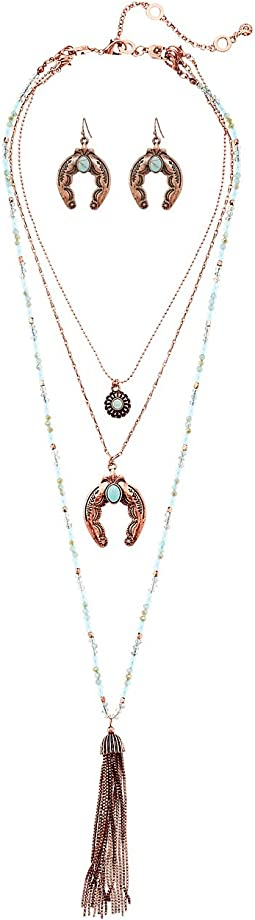 M&F Western 3 Layer Squash Blossom with Tassel Necklace/Earrings Set