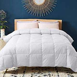 WhatsBedding 100% Cotton Down Comforter with Corner Tabs White Goose Duck Down and Feather Filling Medium Warmth All Season Duvet Insert or Stand-Alone Comforter Queen/Full
