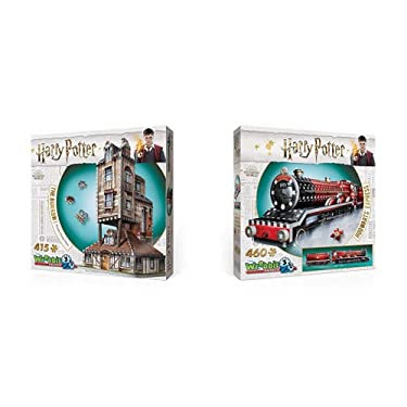 WREBBIT 3D - Harry Potter The Burrow Weasley Family Home 3D Jigsaw Puzzle - 415Piece & Hogwarts Express 3D Jigsaw Puzzle (460 Pieces)