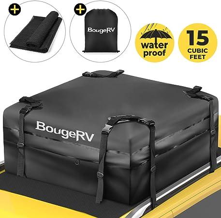 BougeRV Coffre de Toit Souple Voiture Etanche 15 Pieds Valise de Toit Pliable Imperméable Extérieur pour Voyage Transport de Véhicule Camion SUV Vans